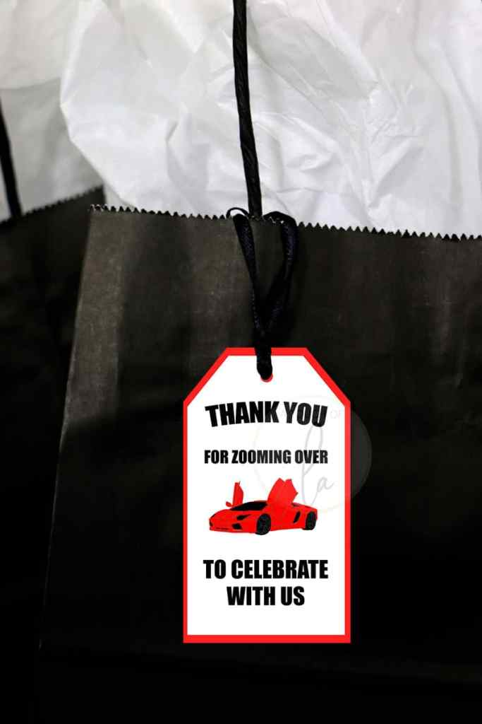 Red exotic car party favor tags