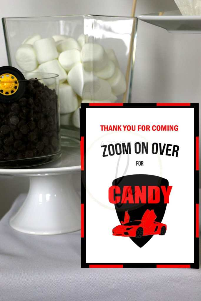 Red exotic car party candy bar sign