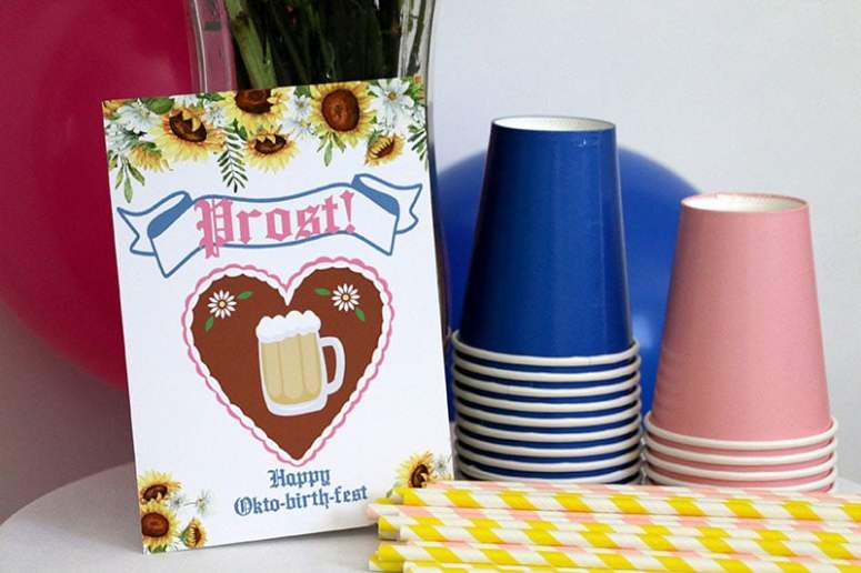 How to Decorate A Girly Oktoberfest Birthday Party: Pink Oktoberfest Drink Sign