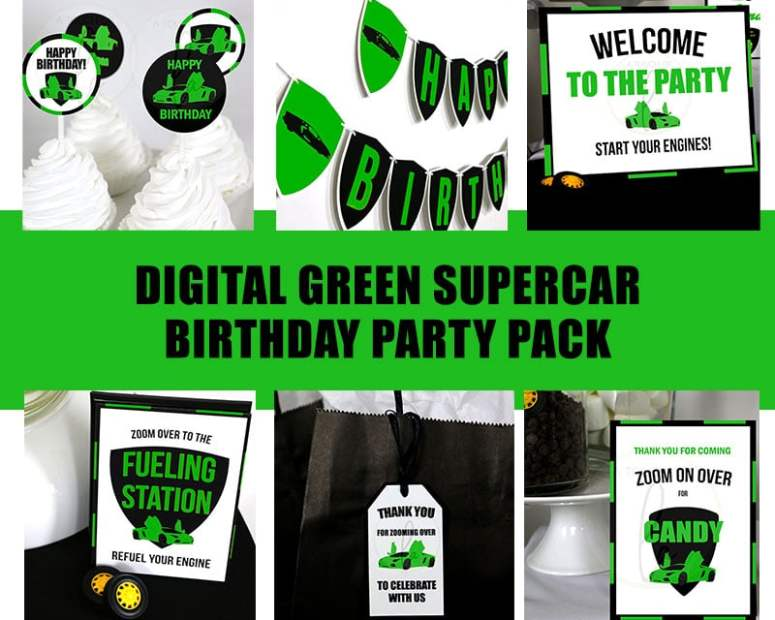 Green-Supercar-Birthday-Party-Pack