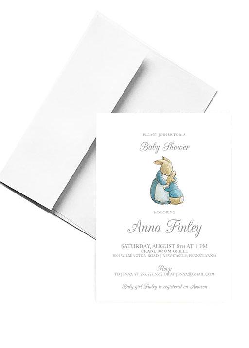 Simple-Editable-Grey-Peter-Rabbit-Baby-Shower-Invitation