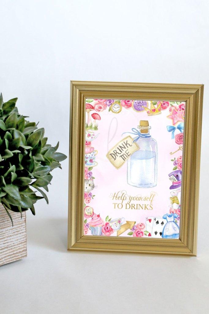 Alice-In-Wonderland-Drinks-Sign-5-x-7