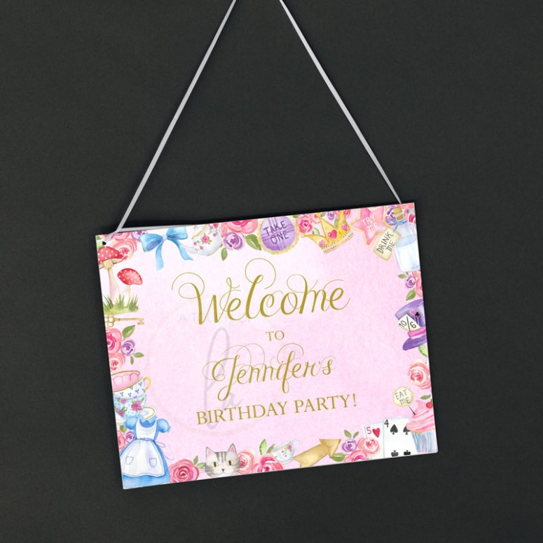 How to Decorate a Pink Alice In Wonderland Party Theme: Welcome Sign