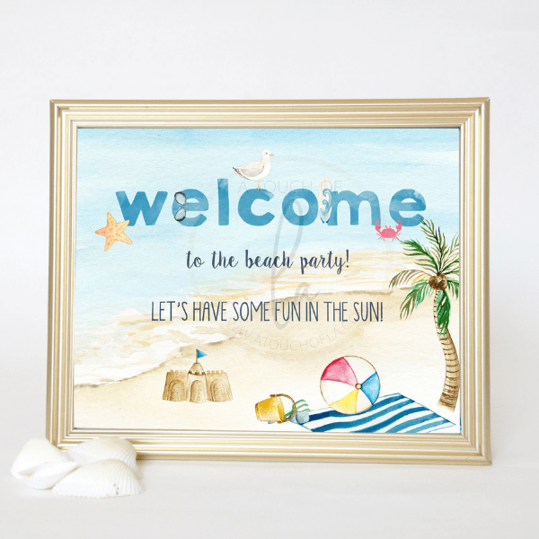 Beach Party Welcome Sign 8 x 10