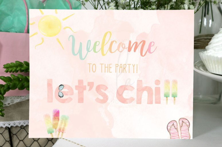 Welcome Sign for Popsicle Party
