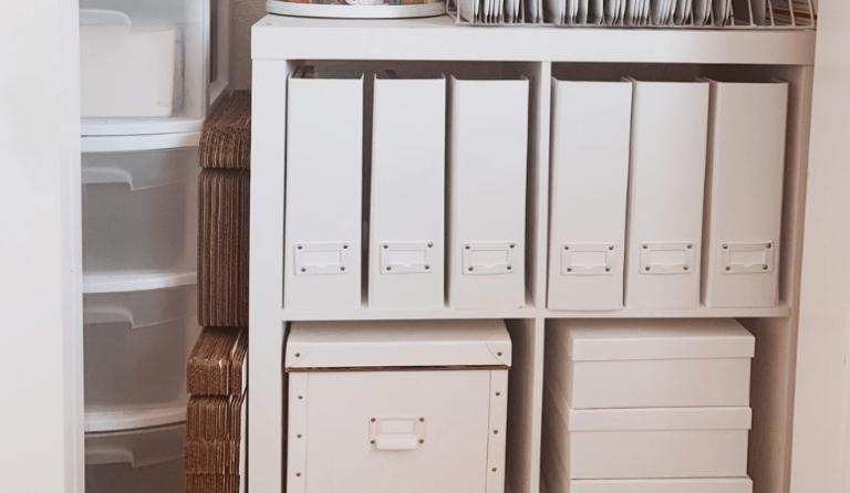 White Office and Craft Room Closet Organization