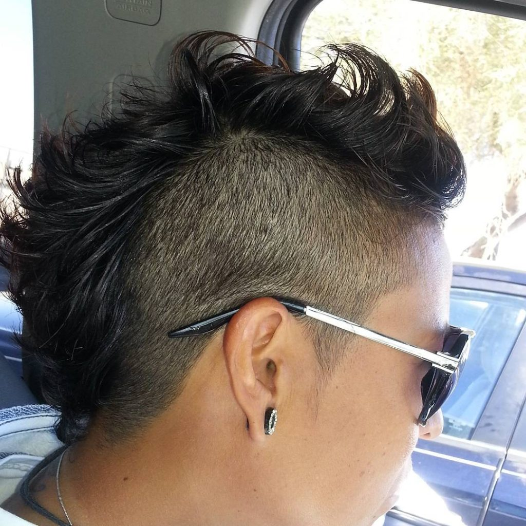 mohawk haircut with design fade
