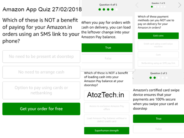 Amazon Quiz Answers 27-02-2018 Updated! Win 1,000 Rs 1