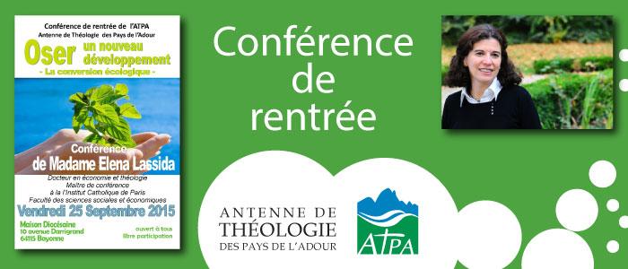atpa theologie cours rentrée 2015 conférence gratiite ouverte à tous maison diocésaine bayonne pape françois encyclique
