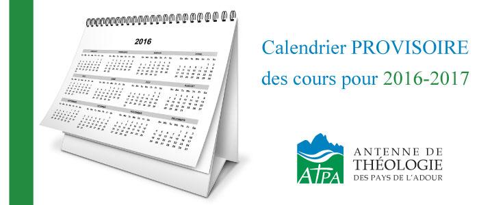 Protégé: Calendrier PROVISOIRE des cours pour 2016-2017