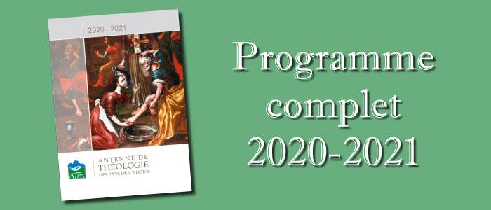 Programme complet des cours pour 2020-2021