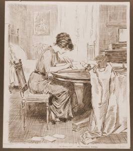 Edwardian woman writing at desk - Gibson