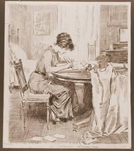 Edwardian woman writing at desk - Gibson