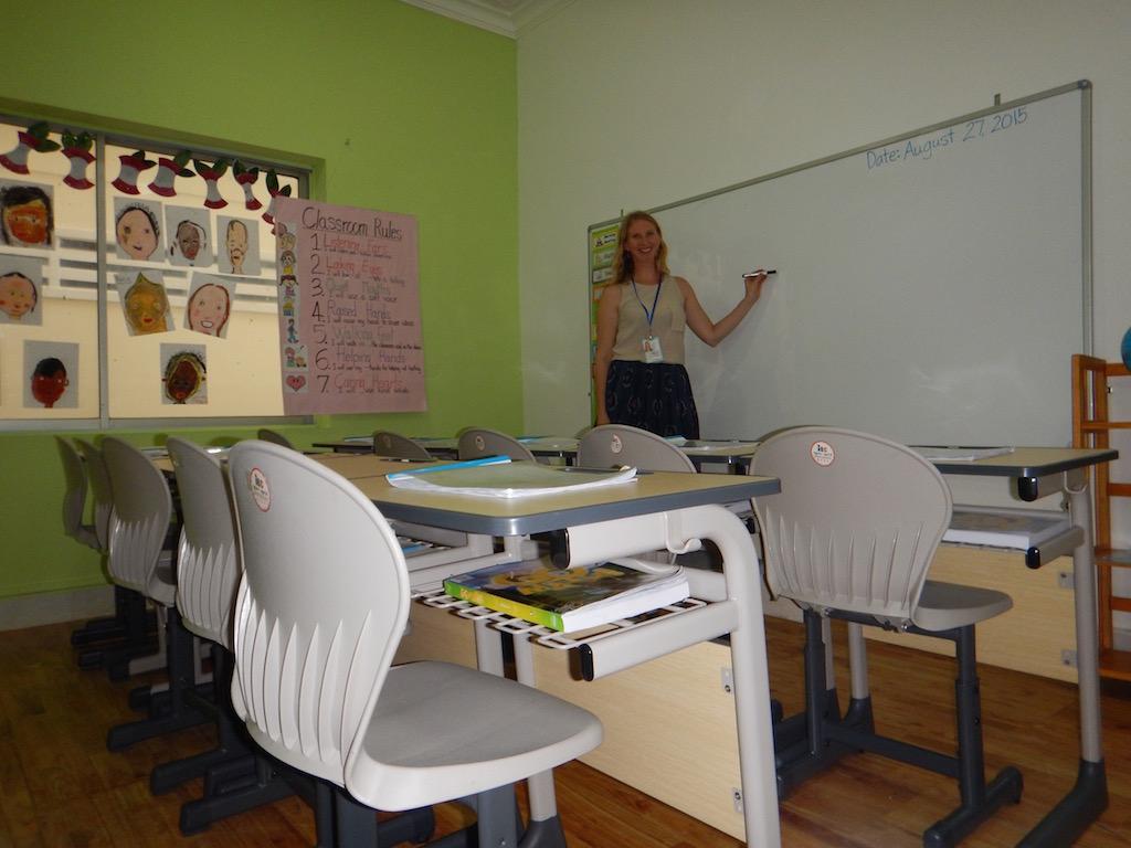 Jen on Back to School Night in her classroom