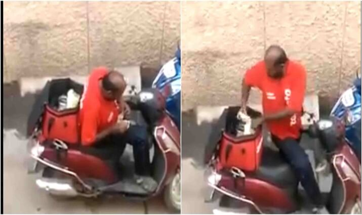 Image result for zomato driver caught eating