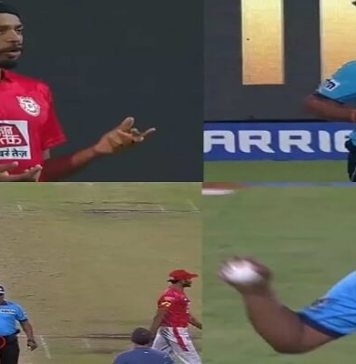 Umpire keeps ball in pocket and forgets