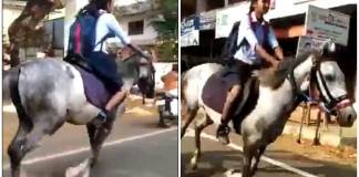 Kerala girl rides horse to exam