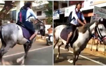 Kerala girl rides horse to exam