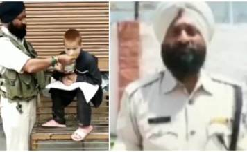 CRPF Jawan Iqbal Singh feeding hungry kid