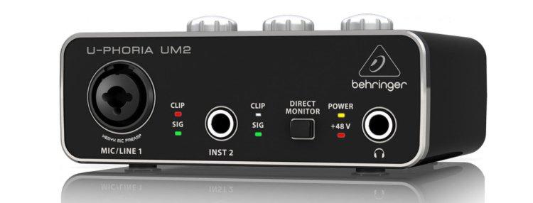 Behringer U-Phoria UM2 audio interface (front)