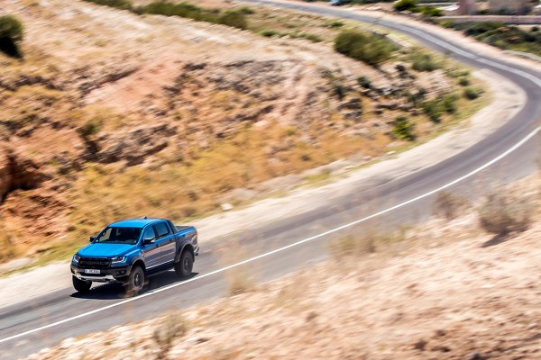 Ford Ranger Raptor in roads in Morocco at the launch