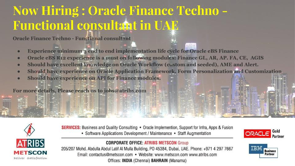 Oracle Finance Techno  Functional consultant  ATRIBS  Career Page