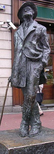 "Statue of oyce on North Earl Street. Affectionately known to Dubliners as ""The Prick with the Stick."""