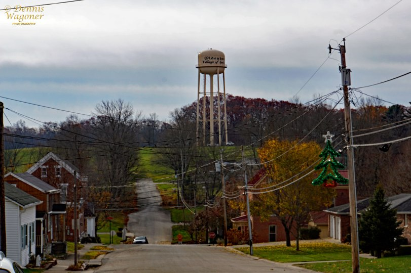 The water tower and town street.