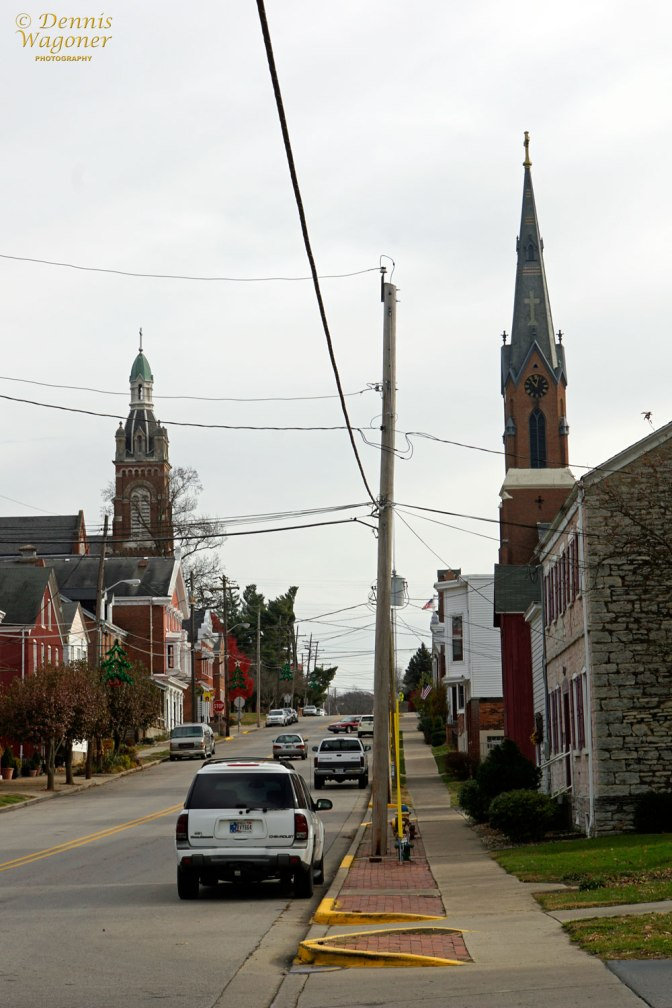 Left spire is on the convent at the top of the hill.
