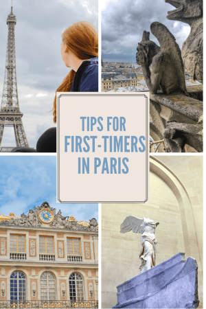 Graphic with photo of woman looking at Eiffel Tower, gargoyle looking out at Paris, building with gold leaf and a statue in the Louvre