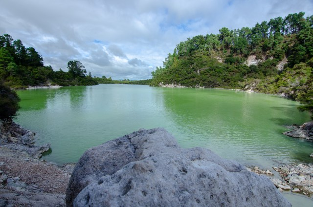 Green geothermal lake, surrounded by trees