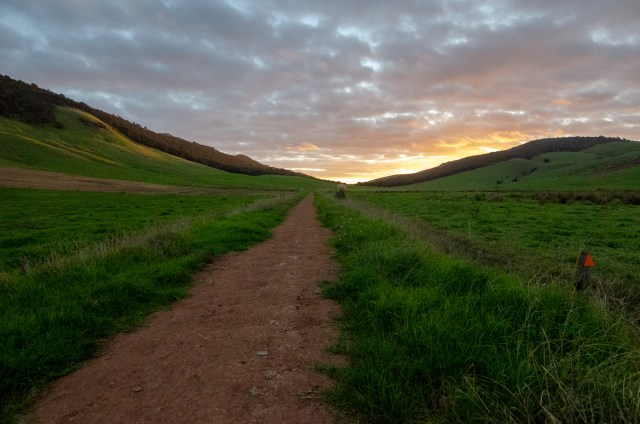 Brown dirt path cutting through green hills, with cloudy sunset in the background
