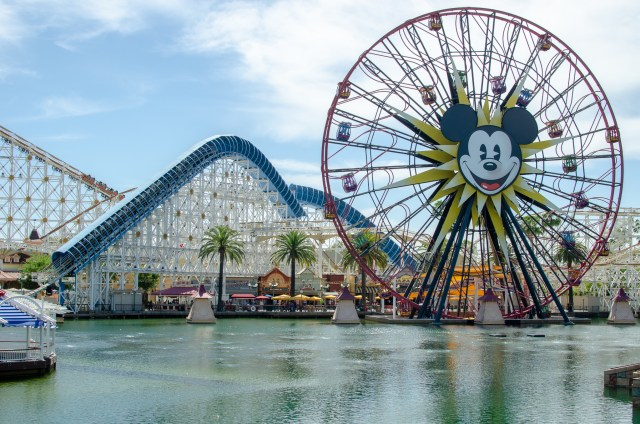 Rollercoaster and ferris wheel with Mickey's face, overlooking a lake