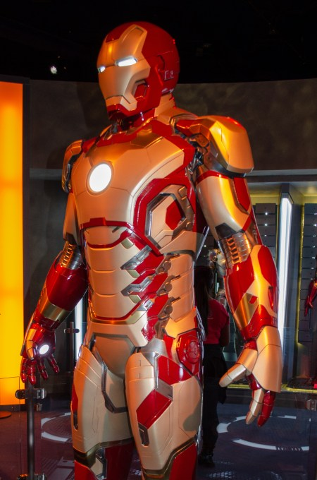 Red and gold Iron Man robotic outfit