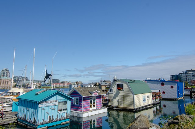 Blue, purple, and beige and green floating buildings on a pier, one of the things to do in Victoria, BC