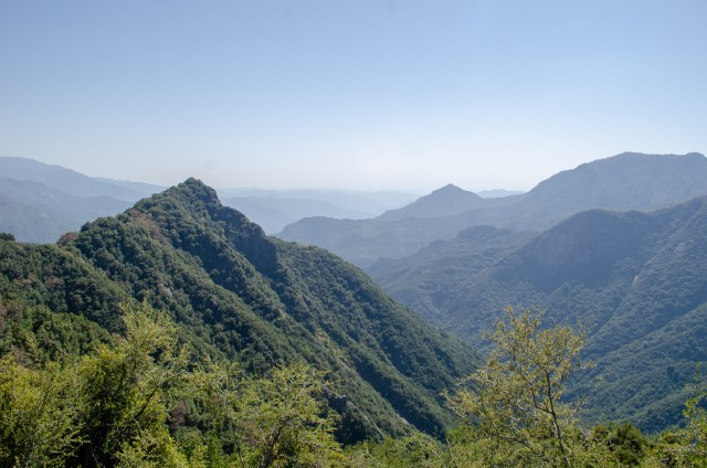 Rugged, vegetation covered mountains that get mistier as they fade into the backround
