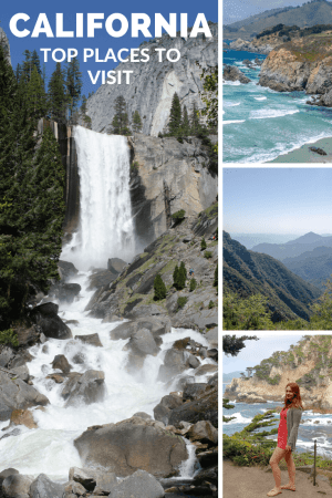 Pinnable image, with largest image of a rushing waterfall, and three smaller images of waves crashing against a coast, misty mountains and a woman overlooking the ocean