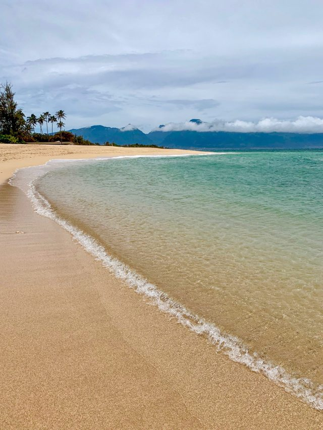 Golden sand and clear water with small waves coming to shore. Looking out in the distance you see palm trees, clouds and mountains