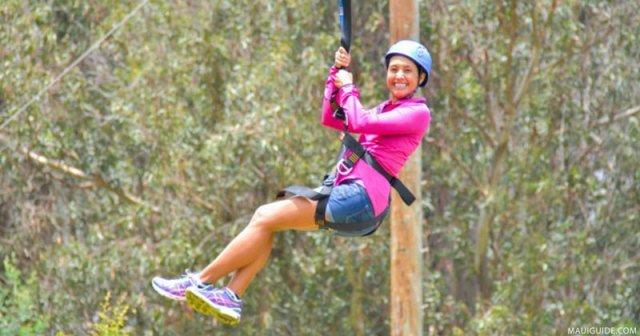 Woman ziplining on a visit to Hawaii