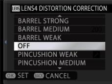 Lens distortion settings