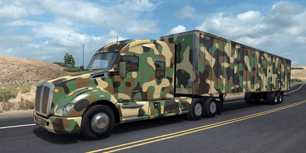 camo semi truck