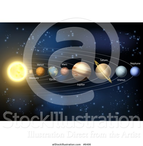 small resolution of vector illustration of a 3d diagram of planets in our solar system and their names