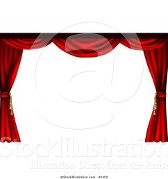 vector illustration of a 3d red theater stage curtains pulled to the sides [ 1024 x 1044 Pixel ]