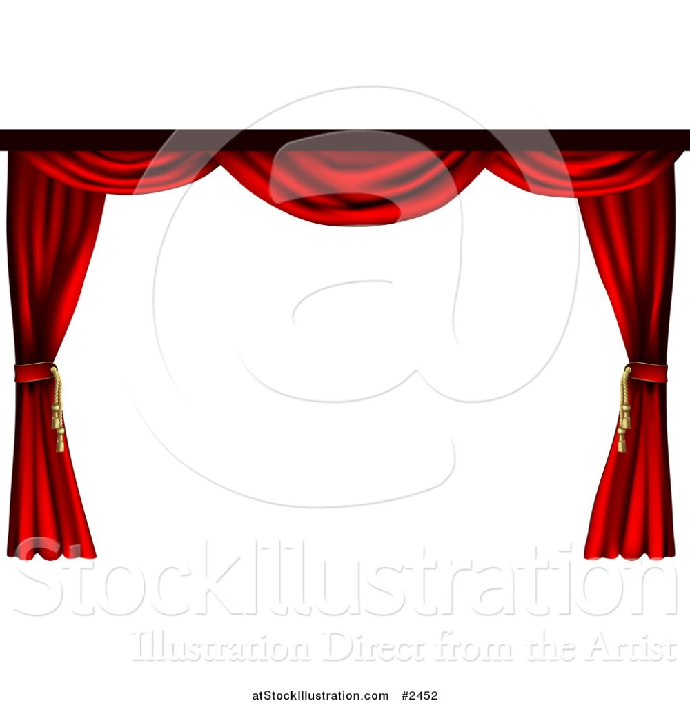 medium resolution of vector illustration of a 3d red theater stage curtains pulled to the sides