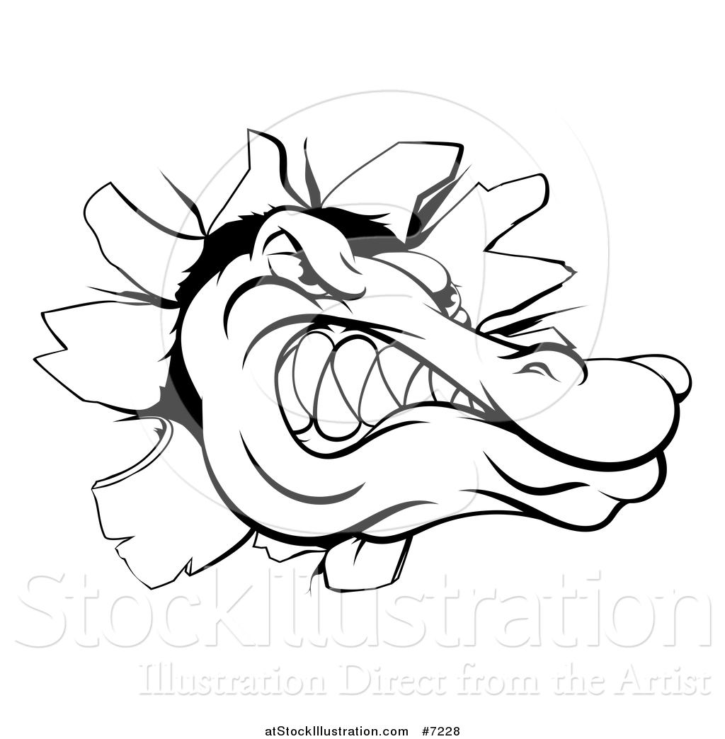 Vector Illustration Of A Black And White Alligator Or
