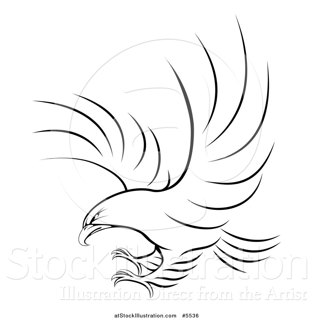 Vector Illustration Of A Black And White Eagle Ready To