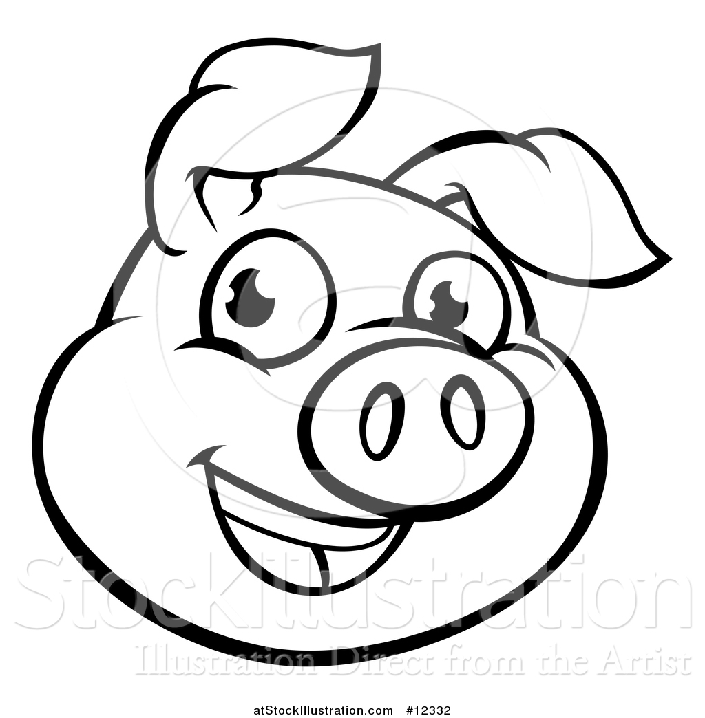 Vector Illustration Of A Black And White Happy Pig Face By