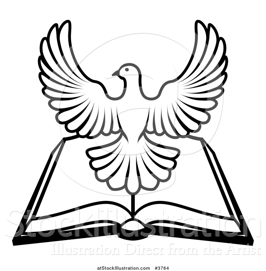 Vector Illustration of a Black and White Holy Spirit Dove