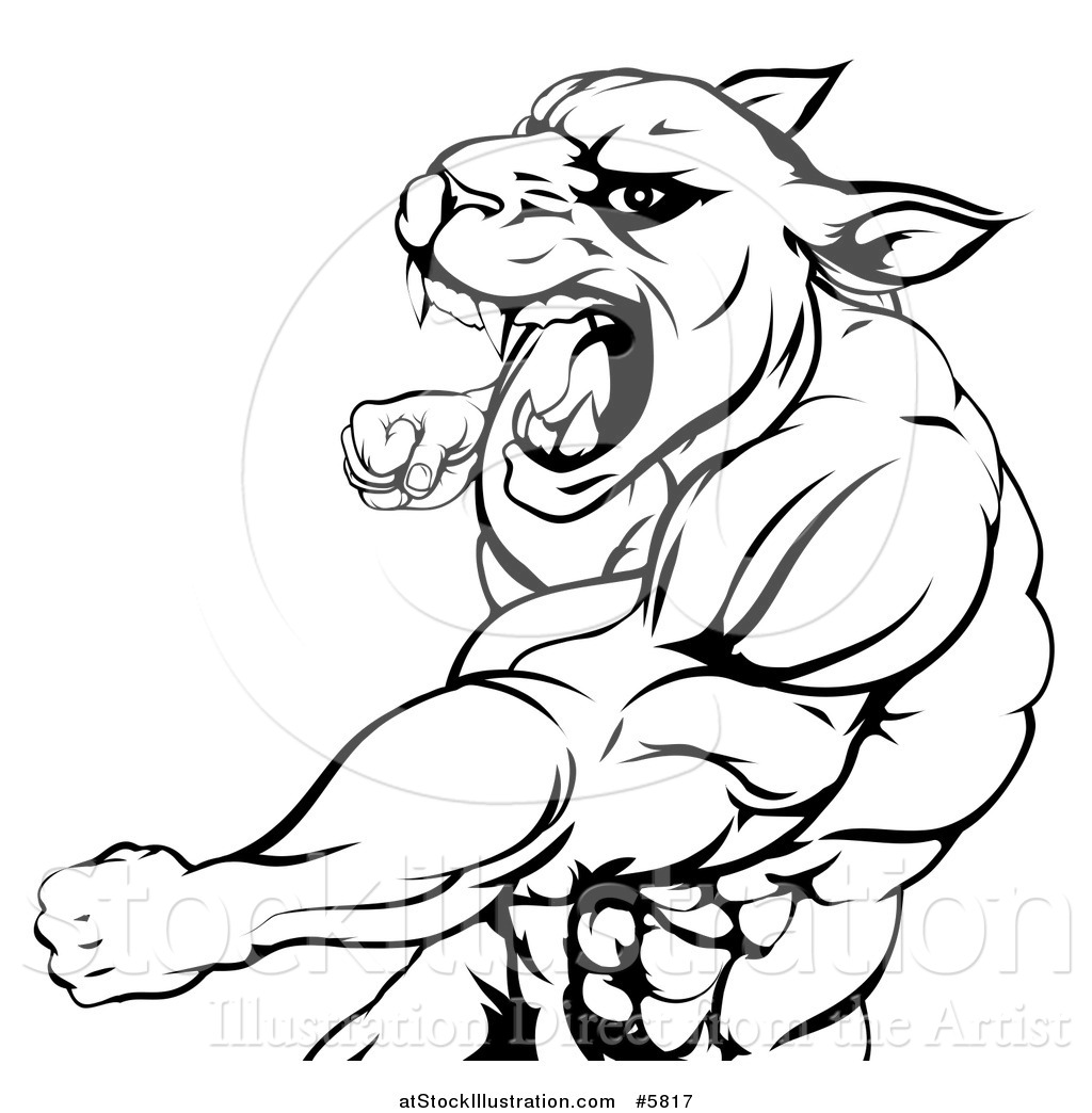 Vector Illustration Of A Black And White Mad Muscular