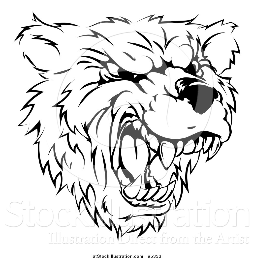 Vector Illustration Of A Black And White Roaring